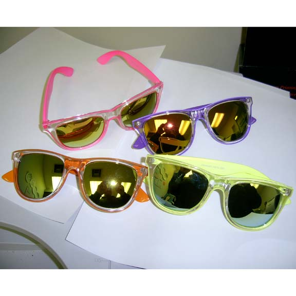 BLUES BROTHERS, NEON/FLUORESCENT CLEAR FRONT SUNGLASSES